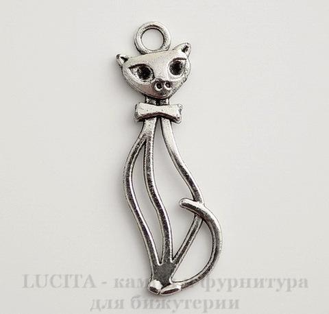 """Подвеска """"Кот с бантиком"""" (цвет - античное серебро) 34х10 мм"""