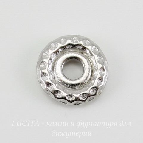"""Бусина - спейсер TierraCast """"Hammertone"""" 9х2 мм (цвет-платина) ()"""