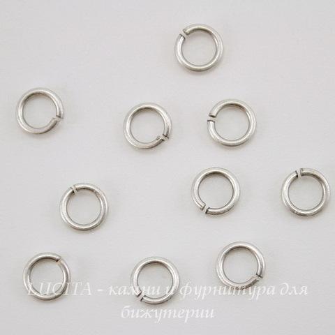 Винтажное колечко одинарное 5,7х1 мм (оксид серебра), 10 шт