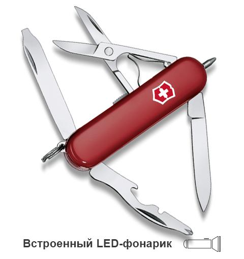 Нож-брелок Victorinox Classic Midnite Manager, 58 мм, 10 функ, красный  (0.6366)