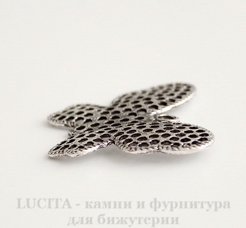 "Подвеска ""Бабочка"" (цвет - античное серебро) 39х32 мм"