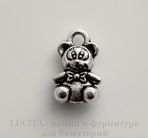"Подвеска ""Медвежонок"" (цвет - античное серебро) 11х7 мм"