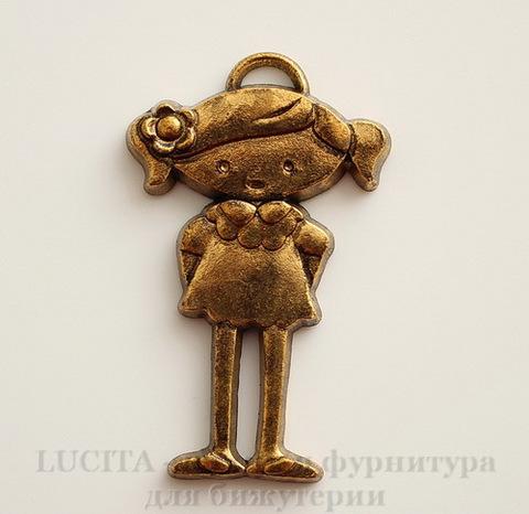 """Подвеска """"Девочка"""" (цвет - античное золото темное) 40х25 мм"""