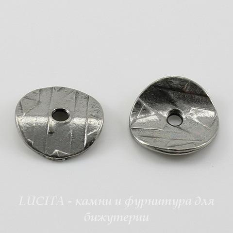 """Шапочка для бусины TierraCast """"Геометрия"""" (цвет-античное серебро) 10х2 мм, 2 штуки"""