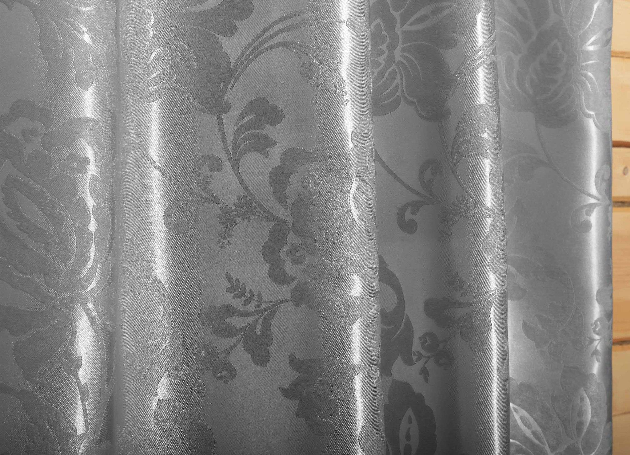 Мирабель (стальной). Готовая штора блэкаут жаккард с растительным орнаментом из шенила.