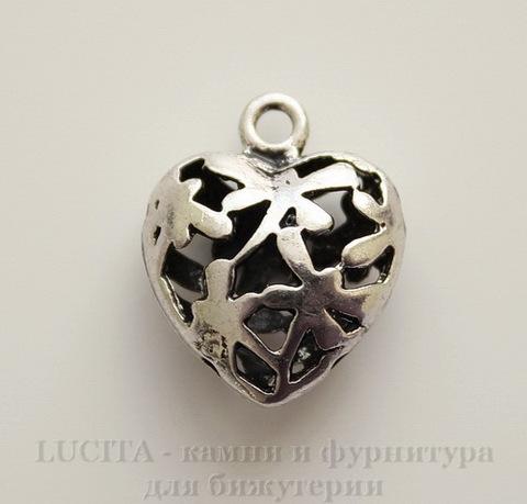 "Подвеска 3D ""Сердце в стрекозах"" 19х16 мм (цвет - античное серебро)"
