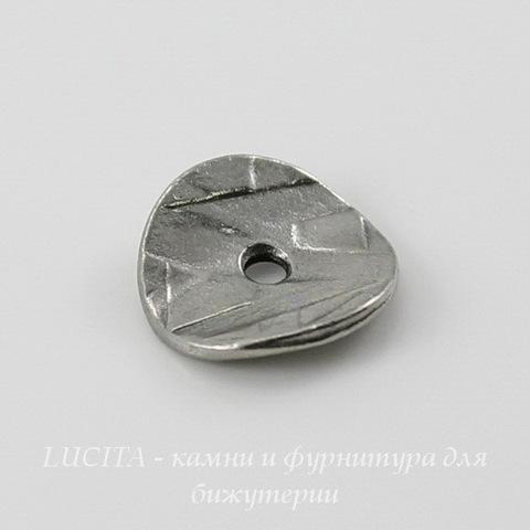 """Шапочка для бусины TierraCast """"Геометрия"""" (цвет-античное серебро) 10х2 мм, 2 штуки ()"""