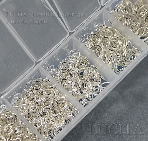 Набор колечек одинарных (примерно 1500 шт) в контейнере (цвет - серебро) 3-8х0,5-1 мм ()