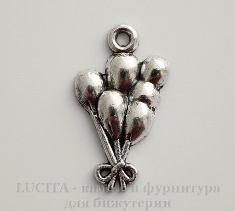 """Подвеска """"Воздушные шары"""" (цвет - античное серебро) 22х12 мм"""