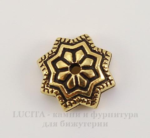 """Шапочка для бусины TierraCast """"Звезда Талавера"""" (цвет-античное золото) 8х3 мм"""