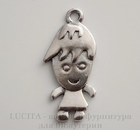 """Подвеска """"Человечек"""" (цвет - античное серебро) 27х13 мм"""