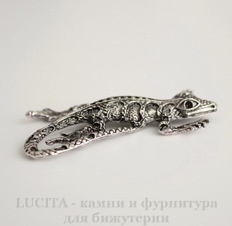"""Подвеска """"Ящер"""" (цвет - античное серебро) 54х34 мм"""