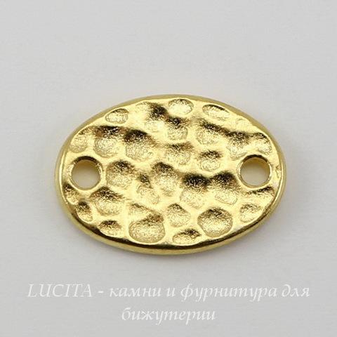 """Коннектор овальный TierraCast """"Hammertone"""" (1-1) 13х9 мм (цвет-золото) ()"""