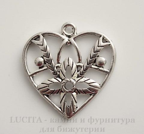 "Подвеска ""Сердце с цветком"" (цвет - античное серебро) 26х25 мм"