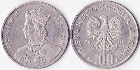 Польша 100 злотых 1985 Пшемысл II