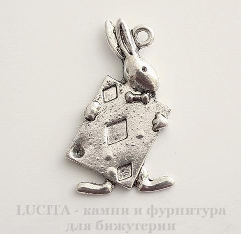"""Подвеска """"Кролик с картой"""" (цвет - античное серебро) 35х25 мм"""