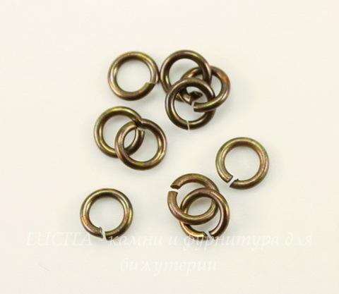 Винтажное колечко одинарное 5х1 мм (оксид латуни), 10 шт