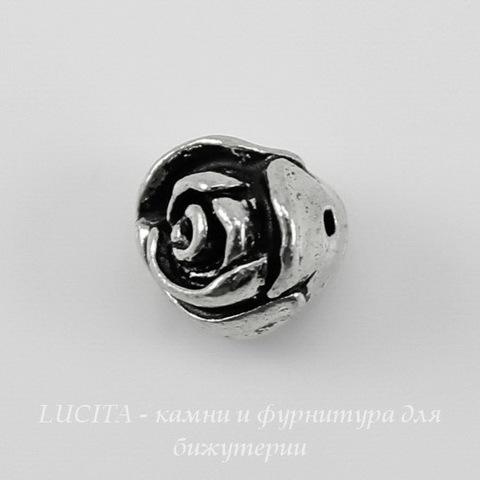 "Бусина TierraCast ""Роза"" (цвет-античное серебро) 8х7 мм"