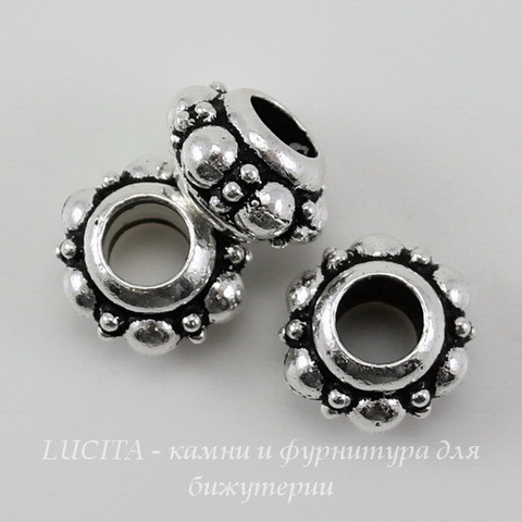 Бусина - рондель TierraCast (цвет-античное серебро) 10х6 мм