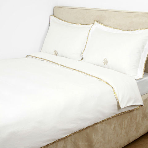 Постельное белье 2 спальное Roberto Cavalli Gold белое