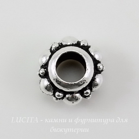 Бусина - рондель TierraCast 10х6 мм (цвет-античное серебро) ()