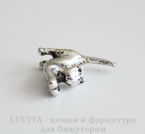 "Подвеска 3D ""Кошка"" 16х16х5 мм (цвет - античное серебро)"