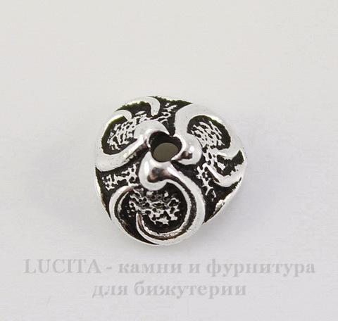 """Шапочка для бусины TierraCast """"Лилия"""" (цвет-античное серебро) 7х4 мм"""
