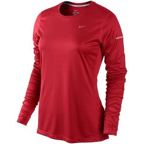 Футболка Nike Miler LS UV Top (W) /Рубашка беговая красная