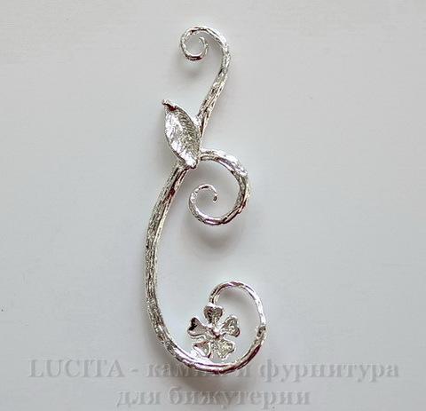 """Подвеска """"Веточка с цветком"""" (цвет - серебро) 38х14 мм"""