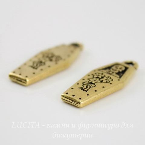 """Подвеска TierraCast """"Гроб"""" (цвет-античное золото) 26х10 мм ()"""