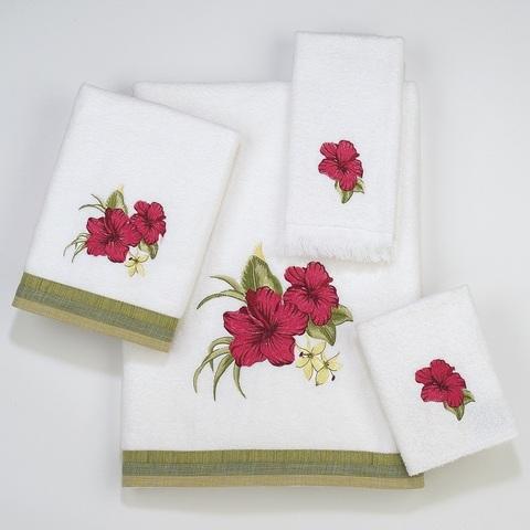Полотенце 28х46 Avanti Hibiscus белое