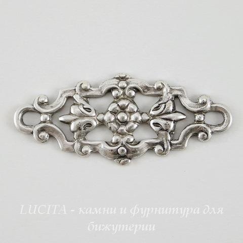 Винтажный декоративный элемент - коннектор (1-1) 29х12 мм (оксид серебра) ()