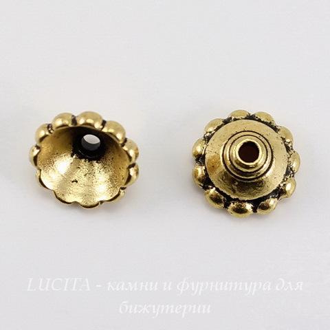 """Шапочка для бусины TierraCast """"Бусинки"""" (цвет-античное золото) 8х4 мм ()"""