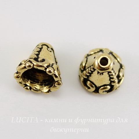 """Шапочка - конус для бусины TierraCast """"Наследие"""" 8х8 мм (цвет-античное золото) ()"""