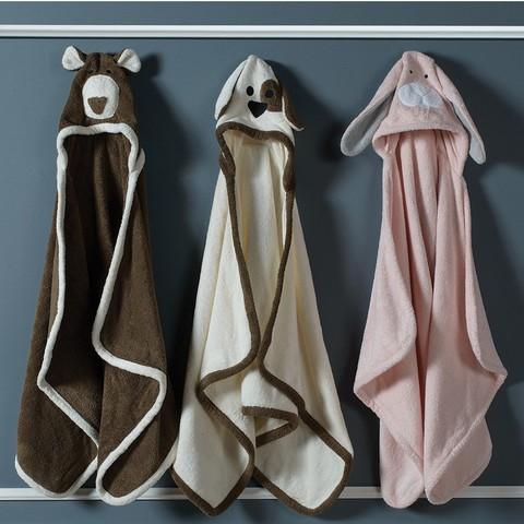 Полотенце детское 70х140 Casual Avenue Animal Bunny с капюшоном розовое/серое