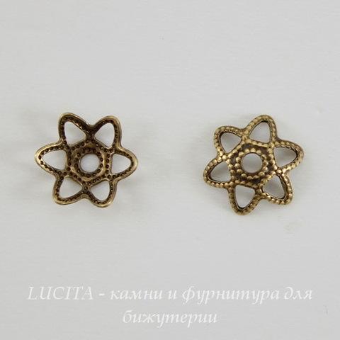 Винтажный декоративный элемент - шапочка маленькая 7х2 мм (оксид латуни) ()
