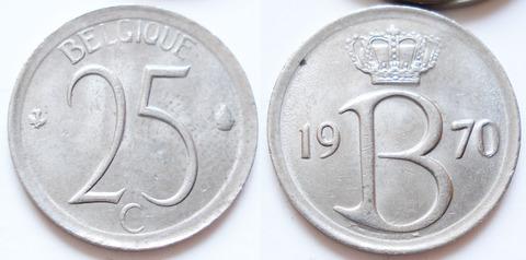 Бельгия 25 сантимов 1970