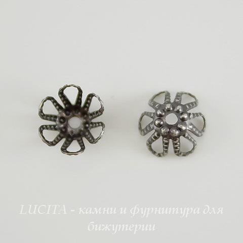 Винтажный декоративный элемент - шапочка филигранная 7х4 мм (оксид серебра) ()