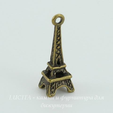 "Подвеска ""Эйфелева башня"" 3D 25х9 мм (цвет - античная бронза)"
