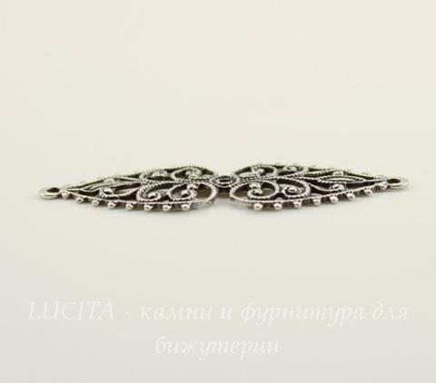 Винтажный декоративный элемент - коннектор (1-1) 37х12 мм (оксид серебра)