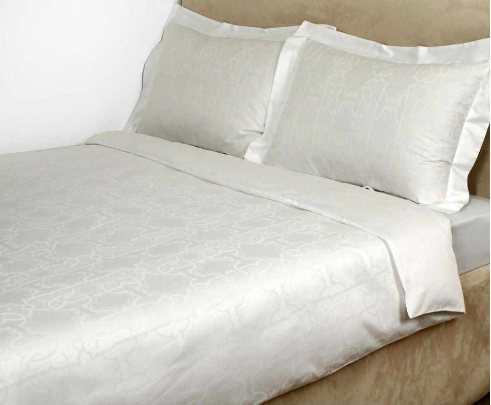 Постельное белье 2 спальное Roberto Cavalli Logo белое