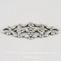 Винтажный декоративный элемент - коннектор (1-1) 29х12 мм (оксид серебра)
