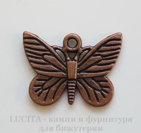 """Подвеска """"Бабочка"""" (цвет - античная медь) 22х16 мм"""