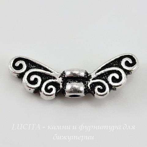 "Бусина TierraCast ""Крылья"" (цвет-античное серебро) 17х6 мм"