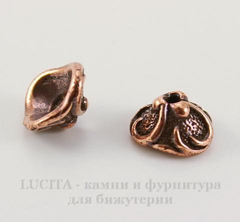 """Шапочка для бусины TierraCast """"Лилия"""" (цвет-античная медь) 7х4 мм"""
