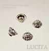 Винтажный декоративный элемент - шапочка маленькая с узором 5х3 мм (оксид серебра)