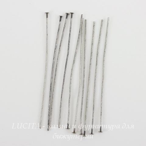 Винтажные пины - гвоздики 51х0,7 мм (оксид серебра), 10 штук ()