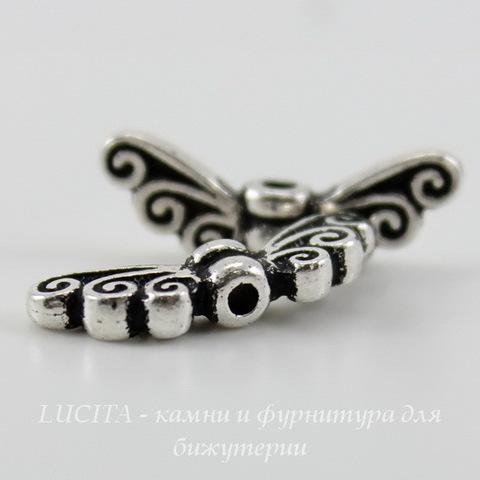 "Бусина TierraCast ""Крылья"" 17х6 мм (цвет-античное серебро) ()"
