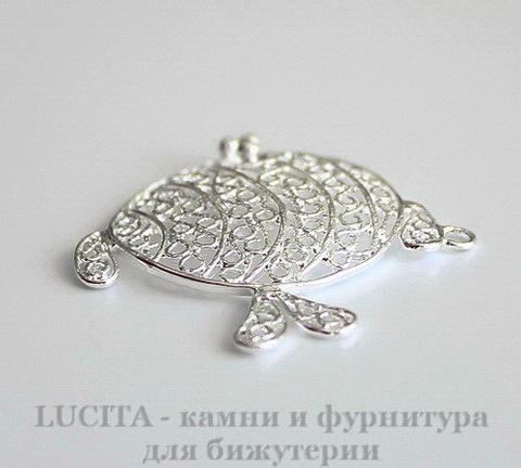 """Подвеска - филигрань , круглая , """"Рыбка"""" (цвет - серебро) 36х34 мм"""
