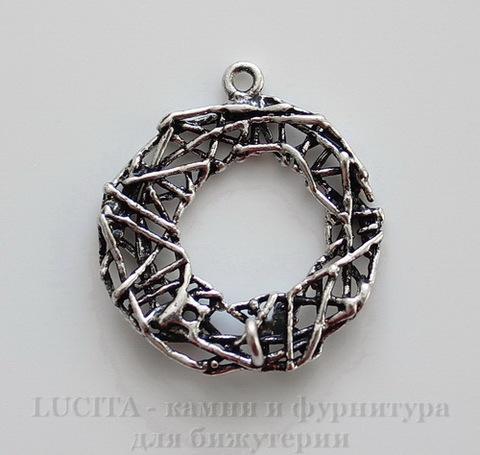 """Подвеска """"Гнездо"""" (цвет - античное серебро) 22х20 мм"""